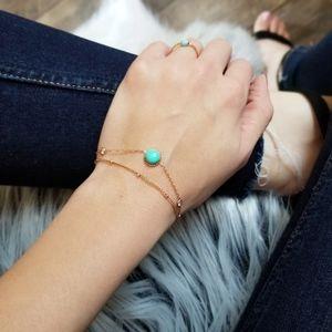 Dainty Turquoise Stone Bracelet Rose Gold Jewelry